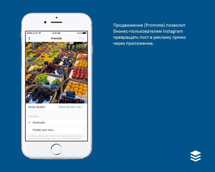 Возможность продвижения позволяет превращать наиболее эффективные посты в рекламу прямо через приложение Instagram, чтобы привлечь еще большее число клиентов