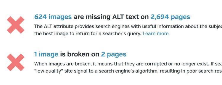отсутствующие alt-тексты на изрядном количестве изображений, использованных на множестве страниц по всему сайту