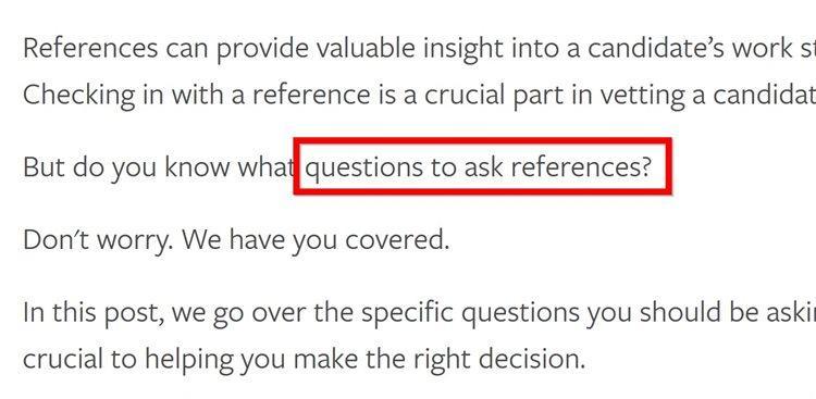 Во-первых, я попросил Шона добавить целевое ключевое слово (questions to ask references) в тело статьи