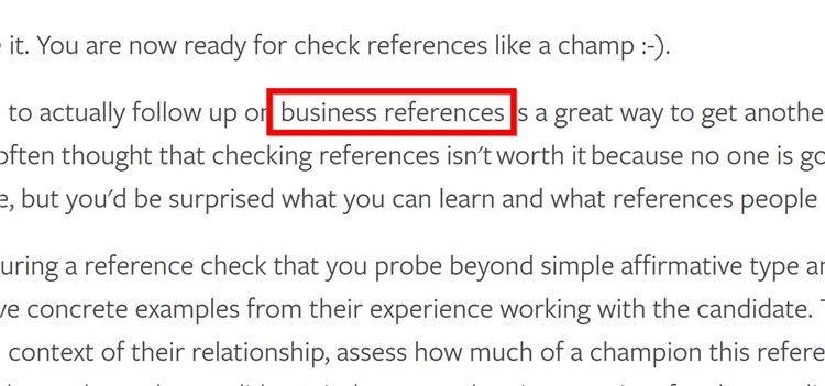Также я порекомендовал ему разбросать LSI ключевые слова (такие как business references) по ее содержимому