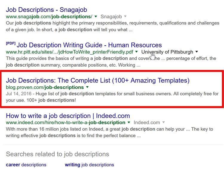 Пост Шона быстро оказался на первой странице поисковой выдачи по запросу job descriptions