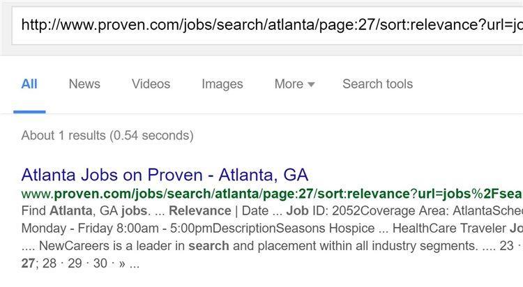 Кроме того, страницы с результатами поисковых запросов в Proven также индексировались