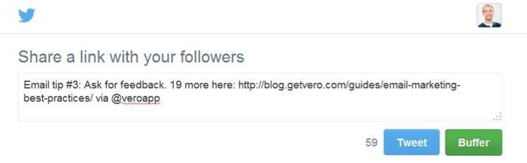 Если кликнуть по этой кнопке, появится готовый твит именно об этом совете.