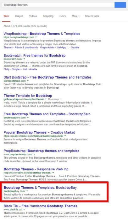 Благодаря тому, что благодаря ему авторитетность домена возросла, главная страницаBootstrapBay находится на 9 месте по bootstrap themes (темы на bootstrap) (12,100 запросов в месяц)