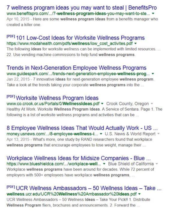 Эмиль гуглил employee wellness program ideas (идеи оздоровительных программ для сотрудников), wellness programs (оздоровительные программы) и corporate wellness programs (корпоративные оздоровительные программы)