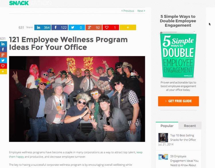 И после пары дополнительных манипуляций супер-пост Эмиля появился на сайте: 121 идея программ оздоровления сотрудников для вашего офиса