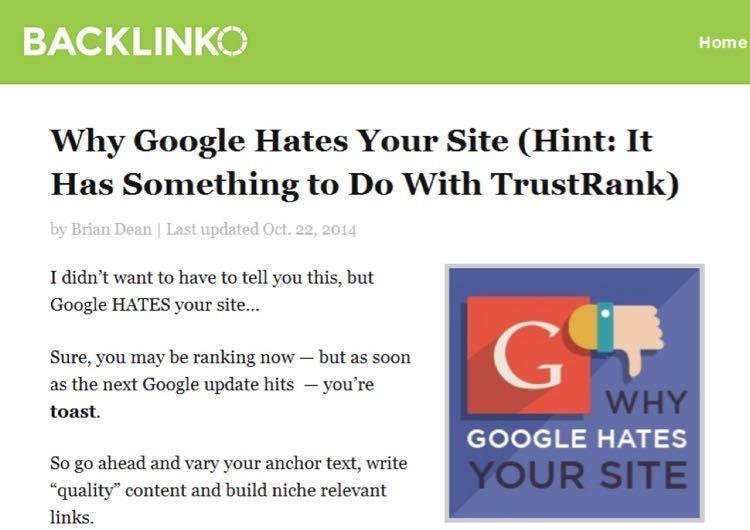 """Недавно я опубликовал пост «Почему Google ненавидит ваш сайт? (Подсказка: ответ имеет отношение к обратным ссылкам)"""""""
