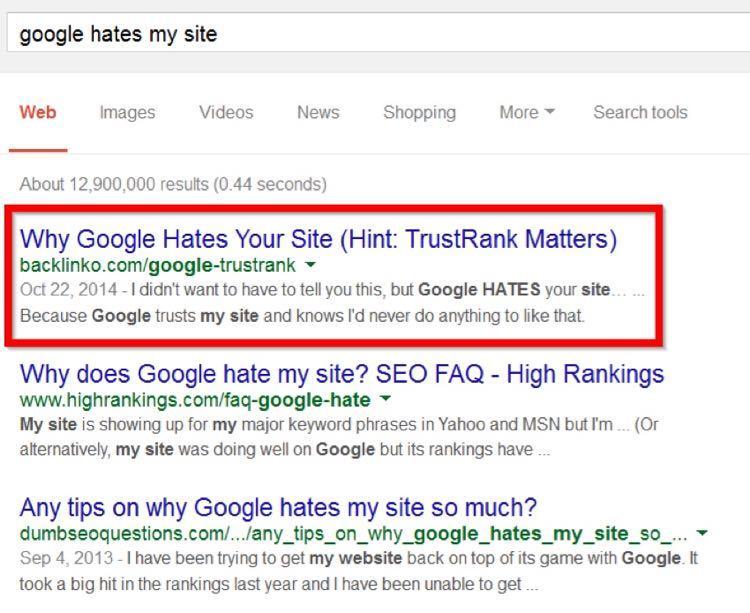 а по запросу «Google hates my site» («Google ненавидит мой сайт») он на первом месте