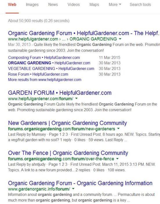 Так вы получите множество ссылок на темы на форумах, касающиеся органического садоводства