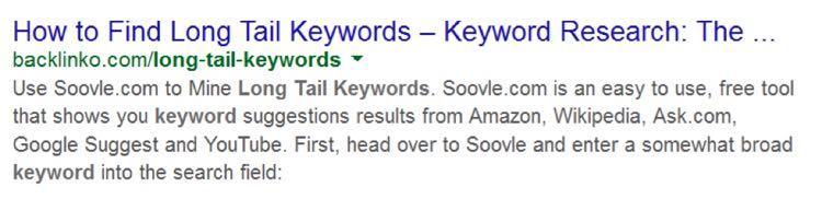 И наоборот, пост о длиннохвостых ключах в поисковой выдаче выглядит безобразно