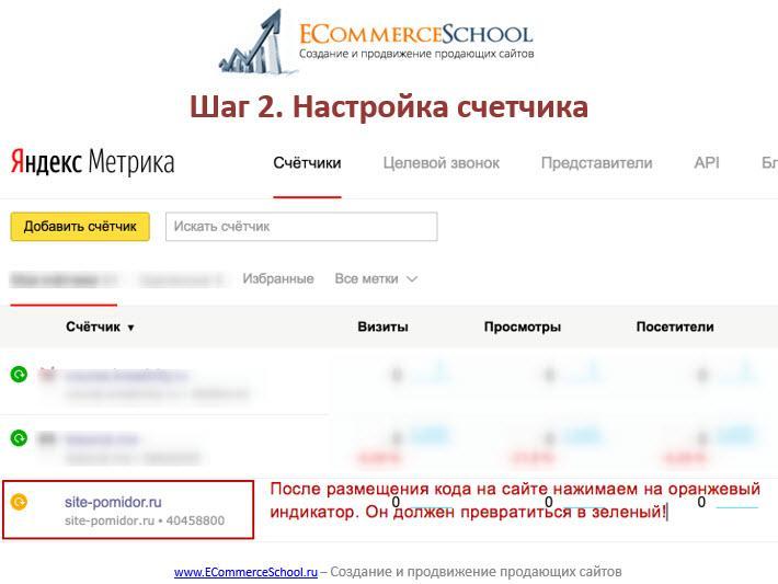 После размещения кода на сайте нажимаем на оранжевый индикатор для обновления информации