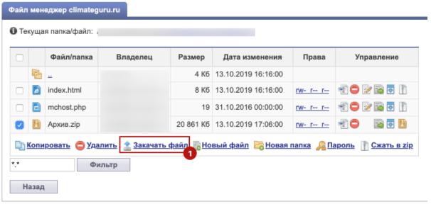 Шаг 10. Загружаем архив на хостинг в папку сайта (Сайты - Файл-менеджер)-2
