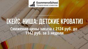 [Кейс. Ниша: детские кровати] Снижение цены заказа с 2124 руб. до 1142 руб. за 3 недели