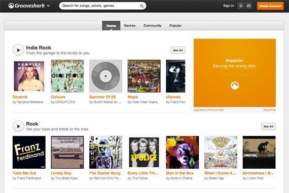 Grooveshark после редизайна