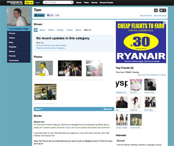MySpace до редизайна