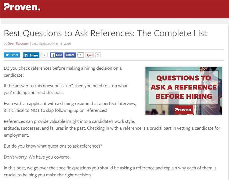 Например, рассмотрим мои рекомендации для поста Шона о вопросах для проверки рекомендаций