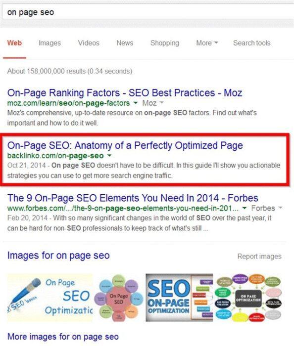 И именно Гостеграфика является одной из причин того, что Backlinko находится на втором месте в поисковой выдаче по ключевику on page SEO (внутренняя SEO-оптимизация)