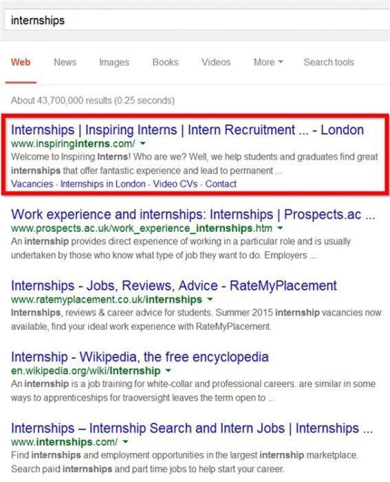 А что насчет первого места в поисковой выдаче Google.co.uk, полученного Дэвидом для своего клиента?