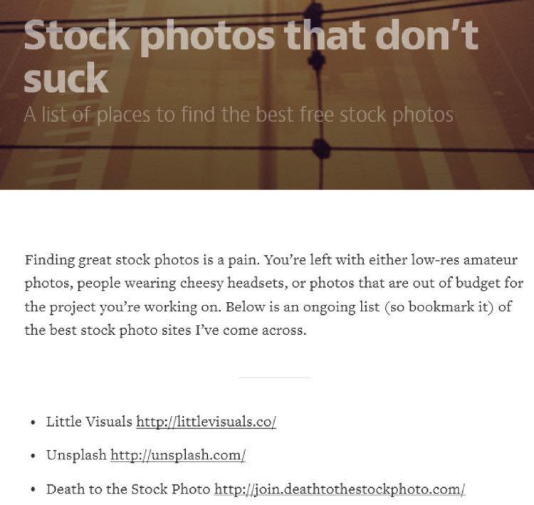 И когда он наткнулся на пост на Medium.com под названием Stock photos that don't suck… (Не отвратительные стоковые фото)
