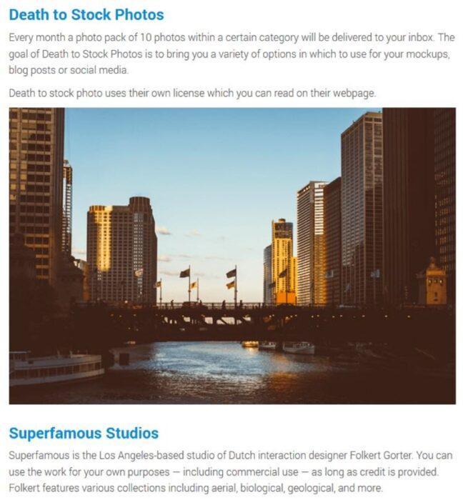 4. Он написал краткое описание каждого бесплатного фотостока