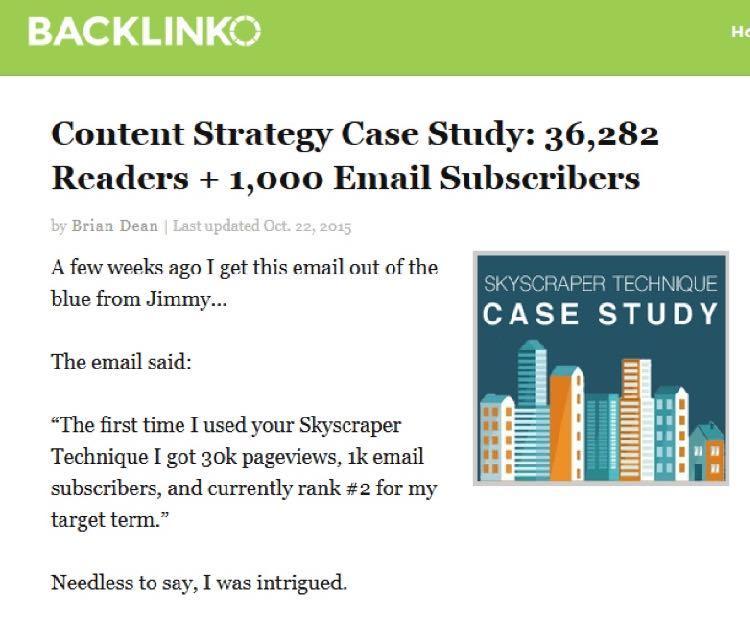Поиски привели Эмиля к посту в блоге Backlinko с названием Контент стратегия. История успеха: 36,282 читателя + 1,000 подписчиков по электронной почте
