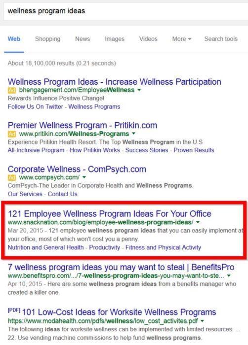 Свеженькие бэклинки стремительно подняли сайт Эмиля на первое место в поисковой выдаче по целевой ключевой фразе wellness program ideas (идеи оздоровительных программ)