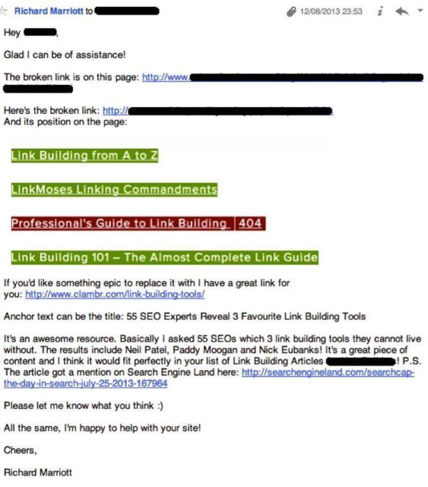 Когда они ответили Какая битая ссылка?, он отправил им такое письмо