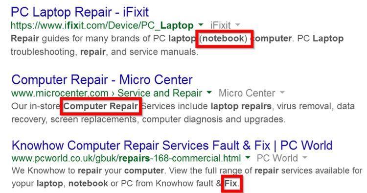 Вот несколько примеров с первой страницы поисковой выдачи по запросу «laptop repair» («ремонт лэптопов»)