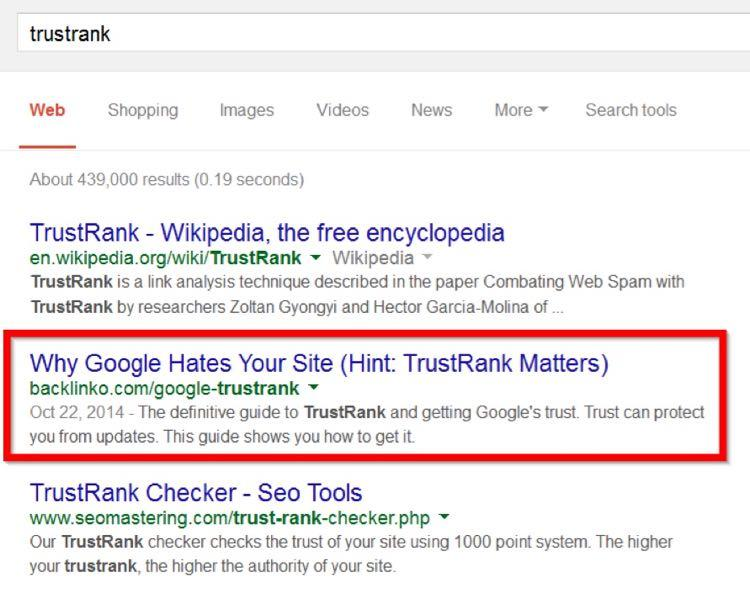 Сегодня пост ранжируется на втором месте по моему целевому ключевому слову («TrustRank»)