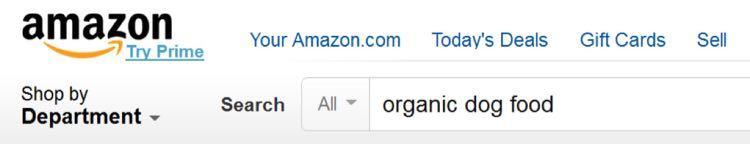 Соответственно, на Amazon вы ищете «organic dog food»