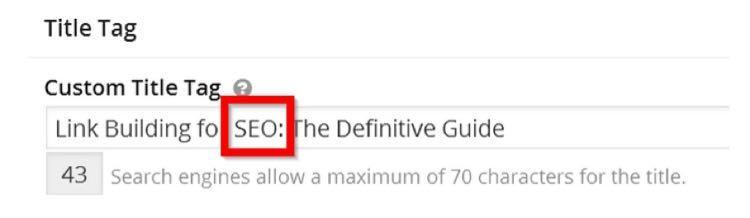 Поэтому я добавил к тегу заголовка ключевое слово «SEO»