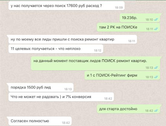 Скрин кейса 11 лидов на комплексный ремонт квартир в Москве за 2 недели после старта с ПОИСКа Яндекс.Директа по 1.500 руб. за лид при 7% конверсии лендинга